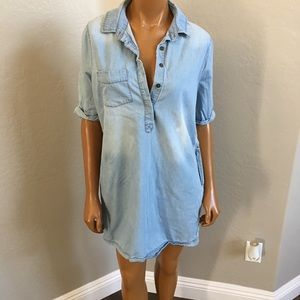Anthropologie Paper Crane chambray denim dress S